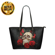 New SKULL and ROSES Tote Bag Women Synthetic Leather Shopping Shoulder Handbag