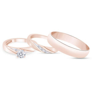 3 Pcs His And Hers 14K Rose Gold Over Wedding Bridal Matching Ring Set