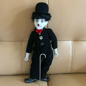 "Vintage Porcelain Charlie Chaplin Celebrity Doll  17"" Tall with Original Box"