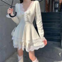 Sweet Lolita Chic Knitted Dress Patchwork Lace Ruffles Princess Sexy Gothic Slim