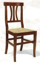 Sedia con seduta in paglia in legno massello, colore noce, arte povera, classica