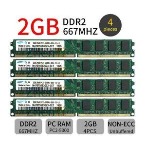 8GB Samsung 4x 2GB DDR2 667MHz PC2-5300U 240Pin DIMM Desktop intel Memory RAM ZT