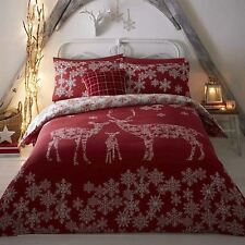 Christmas Winter Reindeer Snowflakes Red Cotton Blend King Size Duvet Cover
