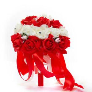 Artificial Bridal Bouquets Rose Flower Rhinestone Bridal Wedding AccessoriesFE