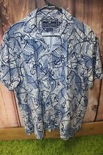 Polo Sport Ralph Lauren Cotton Large Blue White Short Sleeve Button Men's Shirt