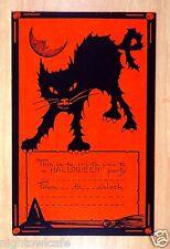 rare Whitney HALLOWEEN INVITATION Postcard Scary Black Cat Man Moon witch broom