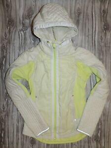 LULULEMON Run Bundle Up Jacket WITH HOOD Size 6 Full Zip White Cream Neon Yellow