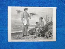 Gravure Année 1865 - Indiens Payaguas + Detail d'architecture et meubles