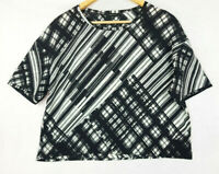PORTMANS Black & White Sheer Light Lagenlook Top Blouse Size 12