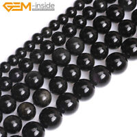 "Natural Black Obsidian Gemstone Round Loose Beads For Jewellery Making 15"" UK"