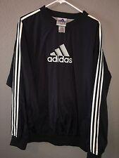 Vtg 90s Adidas Windbreaker Pullover Jacket Men's Size XL Black Stripe RARE