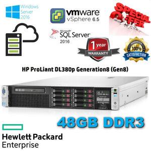 HP Proliant DL380p Gen8 2x E5-2690 3.80GHz Turbo 48GB DDR3 P420i/1GB 2X120GB SSD