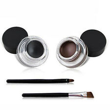 2Pcs Makeup Waterproof Eyeliner Gel Cream Eyes Cosmetic Black Brown+Brush DI