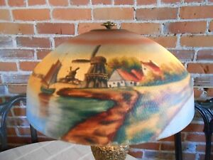 Antique1920's Pittsburgh? SailBoats Reversed Painted Glass Shade for Table Lamp