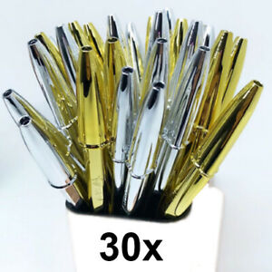 Pack of 30 BiC Cristal Celebrate Ballpoint Pens ~ Gold/Silver