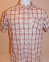 Oakley Mens Large White Plaid Shirt Short Sleeve Slanted Pocket