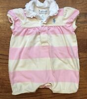 Ralph Lauren Baby Girl Pink Rugby Stripe Summer Bubble Romper Cotton Ruffles 3m