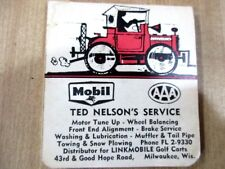 Mobil Oil AAA Insurance  Ted Nelson's Service Milwaukee Wis record book Vtg >