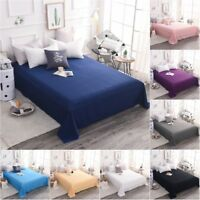 Cotton Bed Flat Sheet Only Premium Top Sheets Pillowcase Solid Wrinkle Resistant