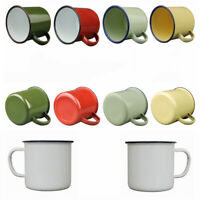 350ml Enamel Mug Coffee Milk Cup Vintage Style Camping Hot/Cold Drinking Red New