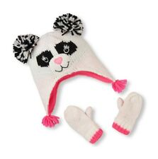 THE CHILDREN S PLACE GIRL PANDA POM POM HAT MITTENS SET SHIMMERY KNIT S 12- a4ae3399216d