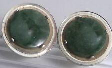 Vintage Dante Genuine Green Jade Round Disk Gold Plated Cufflinks