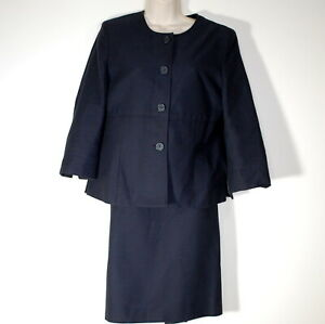 Brooks Brothers 346 Suit 10 Collarless Button Up Classic Two Piece Jacket Skirt