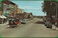 Vintage Michigan MI Street View Scene Postcard Lake City Horse Carriage Old Cars