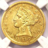 1846-D Liberty Gold Half Eagle $5 - NGC AU Details - Rare Dahlonega Coin!
