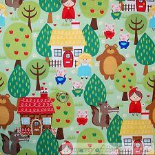 BonEful Fabric FQ Cotton Quilt Green Grass Baby Boy Girl Storybook Nursery Rhyme