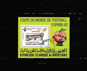 Block-Fußball-WM 1982-Spanien mit Aufdruck-Endspiel- gestempelt-1982-Mauretanien