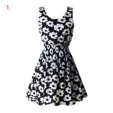 Women Summer Beach Chiffon Mini Dress Sleeveless OL Floral Pleated Tank Sundress