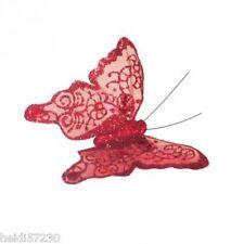 Pince papillon rouge décoration tulle mariage baptême communion loisirs créatifs