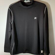 Starter Mens 2Xl Pullover Long Sleeve Polyester/Spandex Shirt Black Xxl Workout