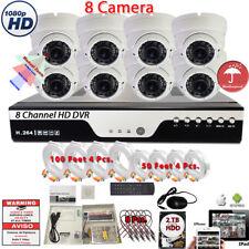 8 Port HD H264 DVR 8x HD 1080P Dome Camera Security Surveillance System W/2TB