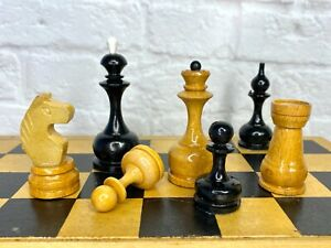 Tournament Vintage Soviet Wooden Chess Set Folding Board 29 x 29 cm Antique