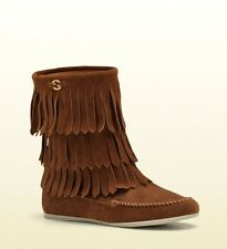 New Authentic Gucci Kids Boot w/Fringe,Interlocking G,29/US 12,Brown 285281