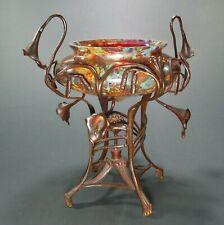 Maximilian BOUDNIK PANDORA Art Glass Compote w/Bronze Mount ca.1900 Loetz Era