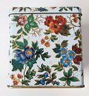 Vintage Floral Tin, Made In England,  Hinged Top, 4'X4'X4'