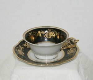 Vintage Schwarzenhammer US Zone Porcelain Footed Gold Floral Teacup & Saucer