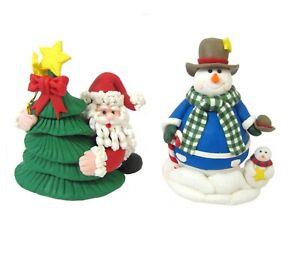 Polymer Clay Christmas Figurine Set Santa Christmas Tree & Snowman Whimsical