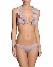 NWT JE M'EN FOUS bikini swimsuit 44 M 10 Italy ruffled high-end runway taupe