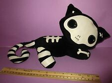 Emily the Strange Plush Black Kitty Cat Stuffed Animal Skeleton Patch Works Rare