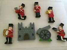 Wooden Toy Castle, Canon and 5 Soldiers
