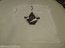 Volcom Juniors Womens top t shirt  S white All Day Stone Logo floral NWT^^