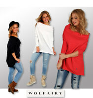 Wolfairy Womens Top Tunic Lagenlook Asymmetric Blouse Plus Size Long Sleeve