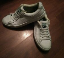 Mens Puma White Leather Lace Up Trainers Size 7UK