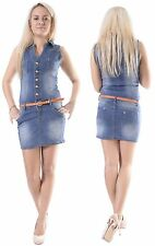 140*Damen Stretch Jeans Kleid Jeanskleid Rock Minikleid Minirock