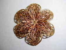 Raw Brass 6 Petal Filigree Flower - 3 Pieces