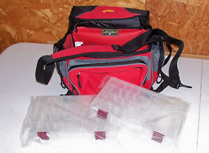 Plano Tackle Bag Box Bass Trout Fishing Red Small Medium Fish Lure Gear Case Kit
